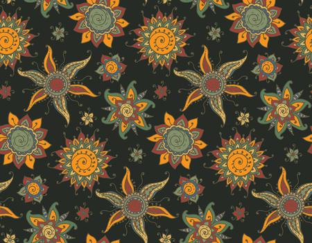 Henna Mehndi Vector : Vector seamless pattern with hand drawn henna mehndi sun and