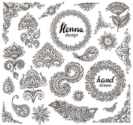 ヘナ花要素と伝統的なアジアの装飾に基づいてフレームの大きなベクトルを設定します。ペイズリー一時的な刺青入れ墨落書きコレクション
