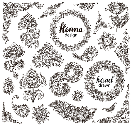 Big vector set of henna floral elements and frames based on traditional Asian ornaments. Paisley Mehndi Tattoo Doodles collection Illustration