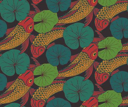 prosperidad: Modelo inconsútil del vector dibujado a mano con los peces Koi (carpa japonesa), hojas de loto. Símbolo del amor, la amistad y la prosperidad. el fondo sin fin colorido