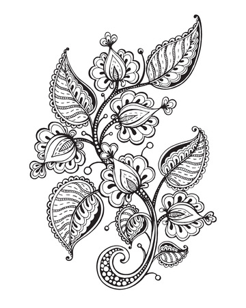 decorative design: Vector illustration of hand drawn fancy flower branch and leaves. Black and white graphic for tattoo, print, coloring book. Isolated on white background.