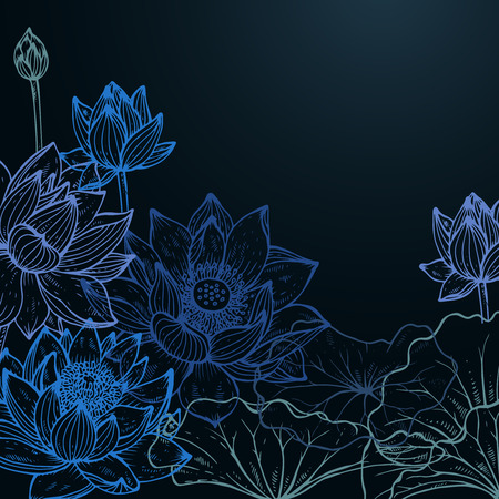 Beautiful colorful vector floral frame with lotus flowers and leaves in blue colors in graphic style.
