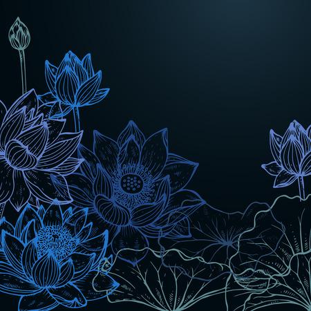 美しいカラフルなベクトル グラフィック スタイルで青い色で葉蓮の花と花のフレーム。