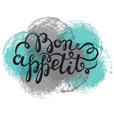 bon: Bon appetit hand drawn pen brush lettering. Vector illustration with grunge texture circles on white background