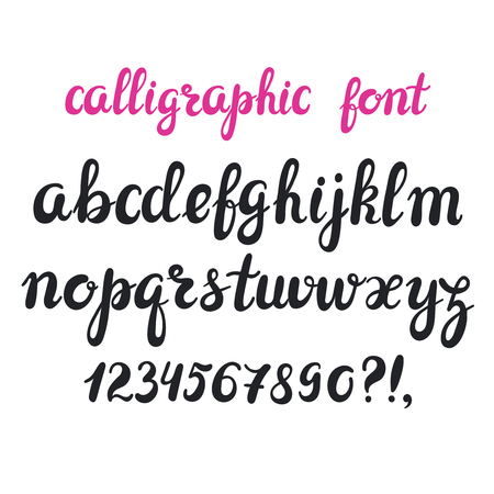 Hand drawn brush pen calligraphy cursive font. Modern hand drawn alphabet. Isolated letters on white . Illustration