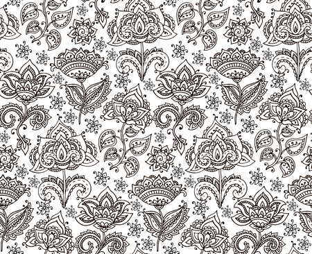 Vector seamless pattern with hand drawn henna mehndi floral elements