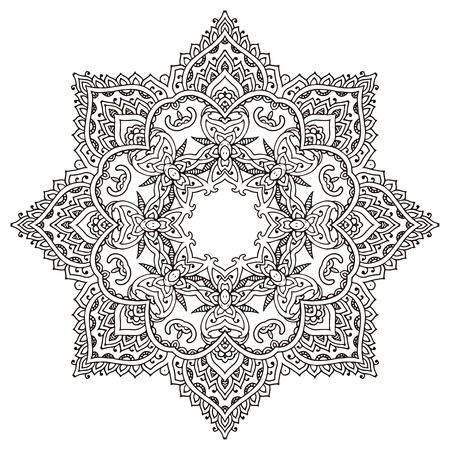 Vector Mandala mit Hand gezeichnet floralen Henna-Elemente. Mehndi Stil, traditionelle orientalische Ornament. Illustration für Malbuch, drucken, Tätowierung Standard-Bild - 53406877