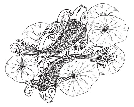 Hand drawn vector illustration of two Koi fishes (Japanese carp) with lotus leaves. Symbol of love, friendship and prosperity. Black and white image. Can be used for tattoo, print, t-shirt, coloring books. Illustration