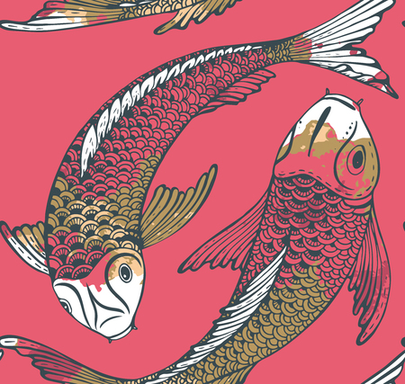 手でシームレスなベクトル パターンには、鯉魚 (鯉) と水彩テクスチャが描画されます。愛、友情および繁栄のシンボルです。美しい無限の背景