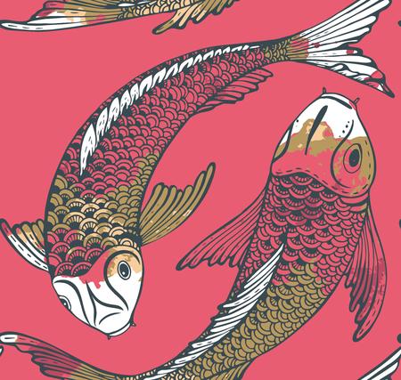 escamas de peces: patrón de vectores sin fisuras con los peces dibujados a mano de Koi (carpa japonesa) y la textura de la acuarela. Símbolo del amor, la amistad y la prosperidad. Hermoso fondo sin fin Vectores