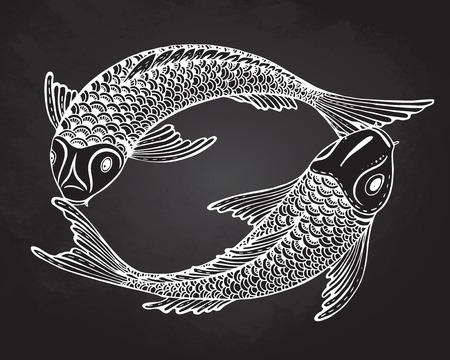 Dibujado a mano ilustración vectorial de dos peces Koi (carpa japonesa). Símbolo del amor, la amistad y la prosperidad. Imagen blanco y negro.