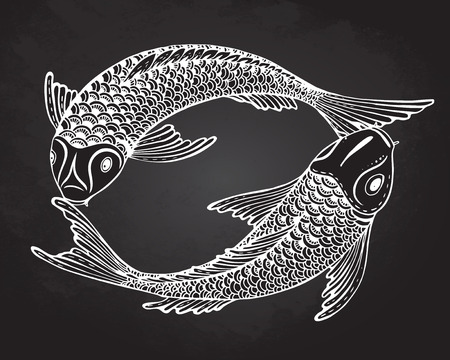 Hand drawn vector illustration of two Koi fishes (Japanese carp). Symbol of love, friendship and prosperity. Black and white image.