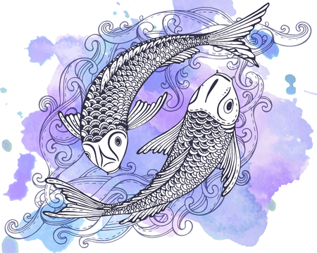 Hand drawn vector illustration of two Koi fishes (Japanese carp) with watercolor background. Symbol of love, friendship and prosperity. Black and white image. Vectores
