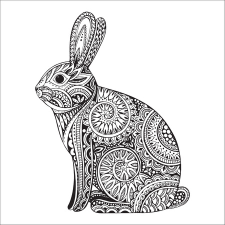Hand drawn graphic orante rabbit with ethnic floral doodle pattern.Vector illustration for coloring book, tattoo, print on t-shirt, bag. Isolated on a white background.