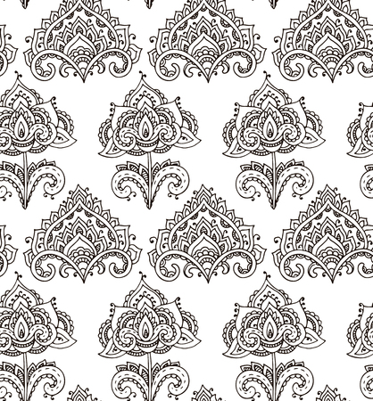 mendie: Vector seamless pattern with hand drawn henna mehndi floral elements