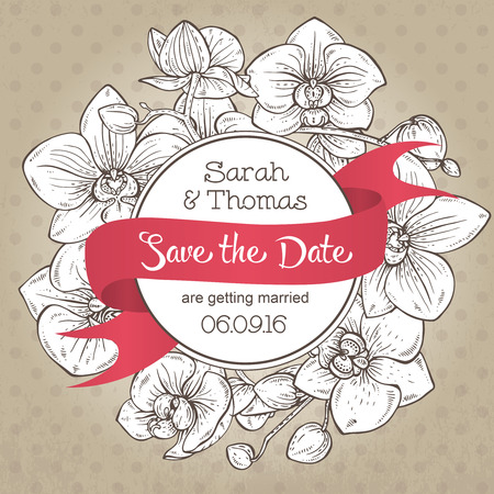 fragrant bouquet: Beautiful elegant wedding invitation or card Save the Date with orchid branches with flowers. Vector illustration