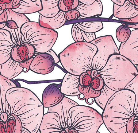fragrant bouquet: Floral seamless pattern with hand drawn orchid branches with flowers for fabrics, textiles, paper. Beautiful colorful vector floral background with watercolor texture.