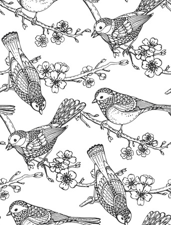 tomtit: Seamless pattern with  hand drawn ornate birds on sakura flower branches. Black and white vector background.