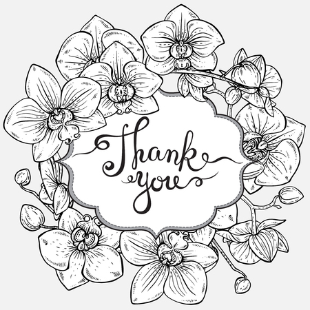 Beautiful vector floral frame and text Thank you with orchid branches with flowers in graphic style Иллюстрация
