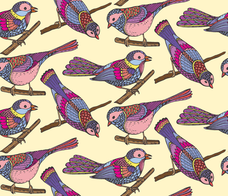 passerine: Seamless pattern with hand drawn ornate birds. Black and white vector background. Illustration