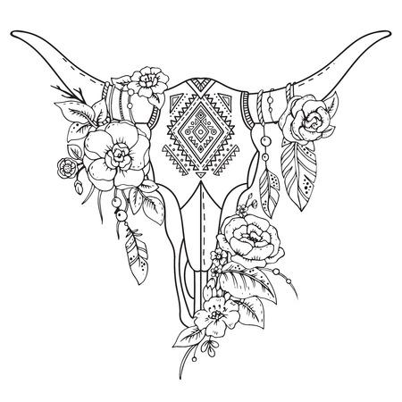 Decorativo cráneo del toro de la India con el ornamento étnico, plumas, flores y hojas. ilustración vectorial de dibujado a mano para el tatuaje, imprimir en la camiseta Foto de archivo - 55727827