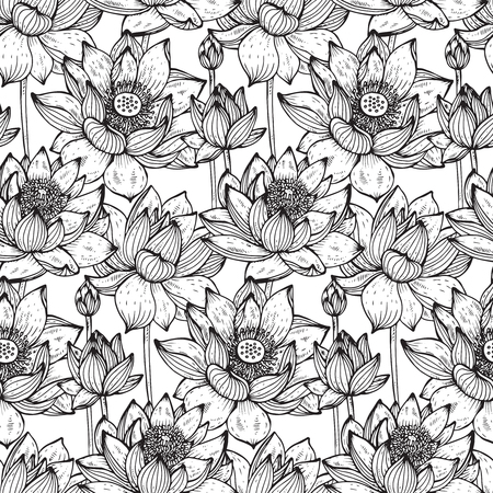 Floral seamless pattern with hand drawn lotus flowers and leaves for fabrics, textiles, paper. Beautiful black and white vector floral background.
