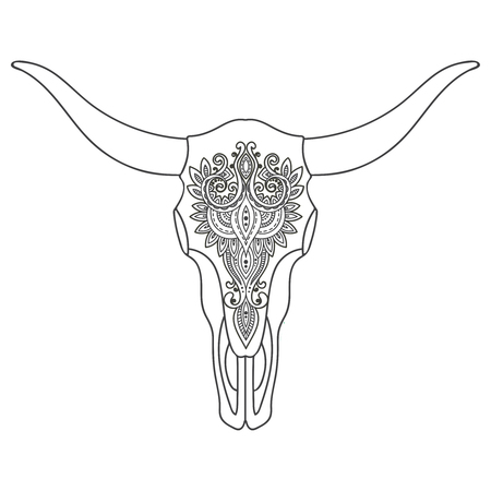 cherokee: Decorative Indian bull skull with ethnic ornament. Hand drawn vector illustration for tattoo, print on t-shirt
