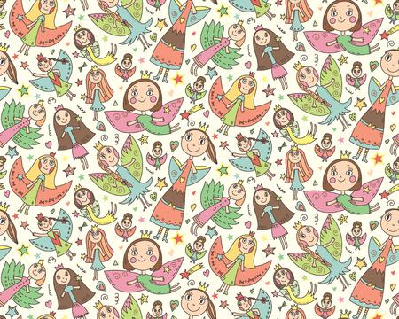 子供たちのかわいい素敵な妖精とシームレスなパターンをベクトルの描画スタイル。休日の祭典、無限の背景。