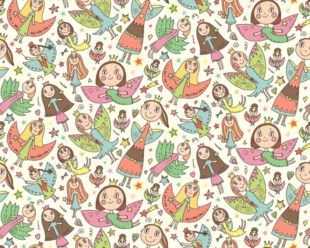 queen of angels: Vector seamless pattern with cute lovely fairies in childrens drawing style. Holiday celebration endless background. Illustration