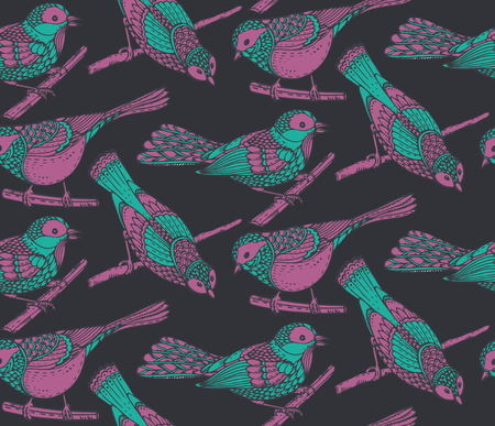 tomtit: Seamless pattern with hand drawn ornate birds jn branches. Beautiful vector background. Illustration