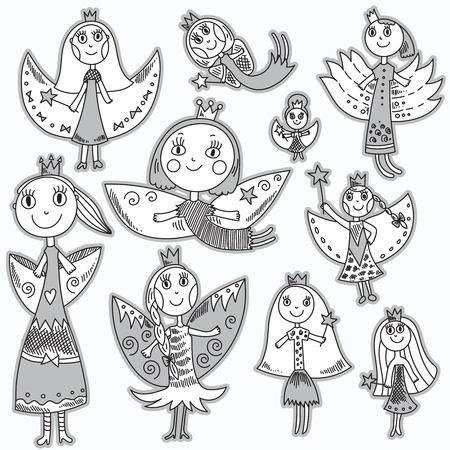 queen of angels: Set of cute lovely fairies in childrens drawing style. Beautiful vector illustration. Isolated objects.