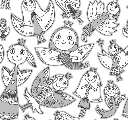 elf queen: Vector seamless pattern with cute lovely fairies in childrens drawing style. Holiday celebration endless background. Illustration