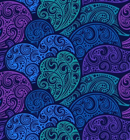 fancy design: Seamless pattern with hand drawn doodle sea waves. Vector illustration with fancy design elements in blue colors.