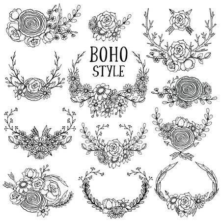 Collection of vector hand drawn floral elements in boho style: leaves, flowers, branches and wreathes with arrows