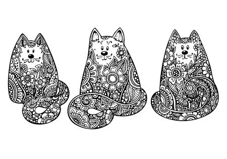 3 の手描きのセットは、花飾りとグラフィックの黒と白の猫を落書き。