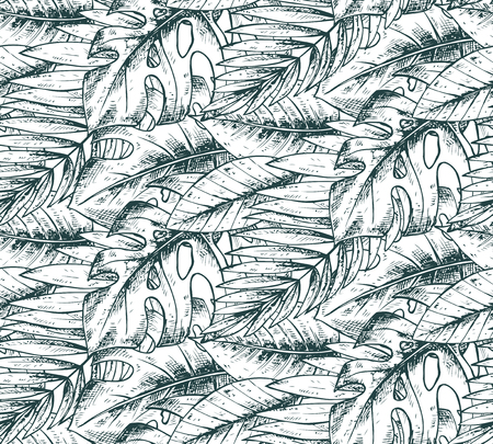 subtropical: Seamless pattern with hand drawn tropical plants. Summer hawaiian vector background.