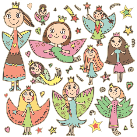 elf queen: Set of cute lovely fairies in childrens drawing style. Beautiful vector illustration. Isolated objects.