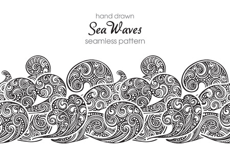 fancy design: Seamless border pattern with hand drawn doodle sea waves. Black and white vector illustration with fancy design elements.