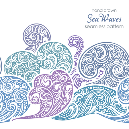 fancy design: Seamless border pattern with hand drawn doodle sea waves. Vector illustration with fancy design elements in blue colors. Illustration