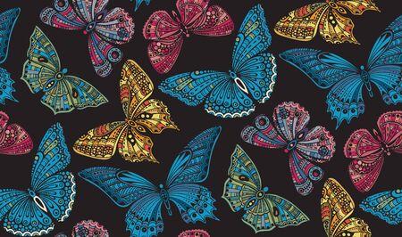 華やかな落書きとシームレスなパターンは、描かれた蝶を手します。美しいカラフルなベクトルの背景  イラスト・ベクター素材