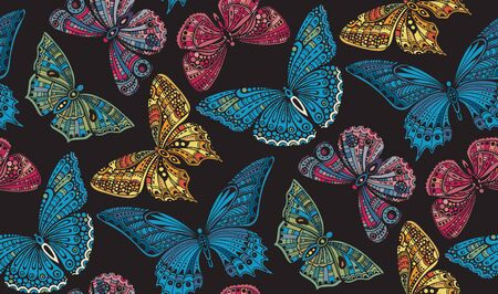 Seamless pattern with  ornate doodle hand drawn butterflies. Beautiful colorful vector background