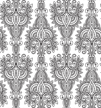 Vector seamless pattern with hand drawn asian paisley ornament.  Amulet with ethnic design.  Black and white beautiful endless background. Illustration
