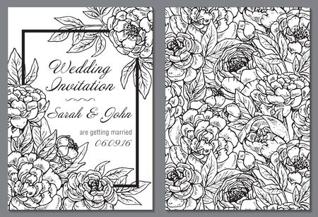 peony black: Wedding invitation with black and white hand drawn graphic peony flowers. Flourish card with copy space