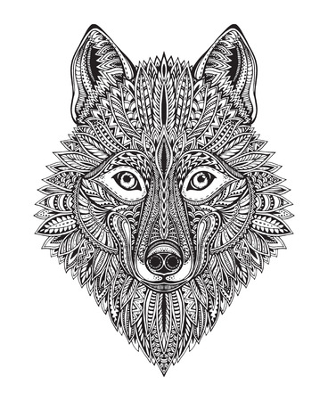predators: Hand drawn ornate doodle graphic black and white wolf face. Vector illustration for t-shirts design, tattoo, coloring book and other things