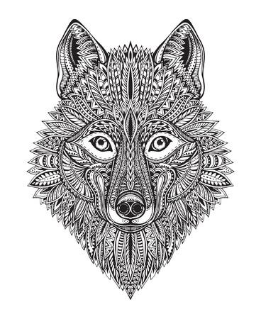 Tiré par la main doodle fleuri graphique visage de loup noir et blanc. Vector illustration de t-shirts conception, tatouage, livre de coloriage et d'autres choses