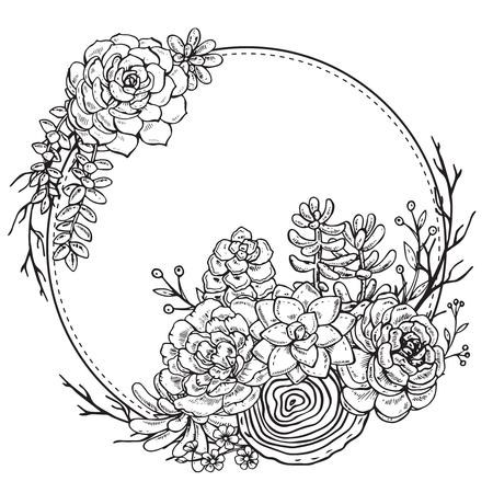 手でベクター フレームは、白い背景の上の多肉植物の組成を描画します。黒と白の印刷、塗り絵、招待状カードのグラフィック フレーム。  イラスト・ベクター素材
