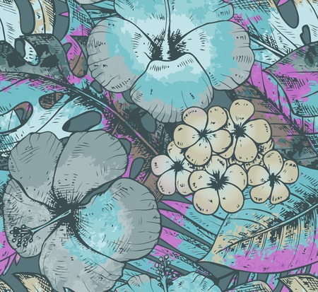 Seamless pattern with colorful hand drawn tropical plants and flowers with watercolor texture in blue colors. Summer hawaiian vector background.