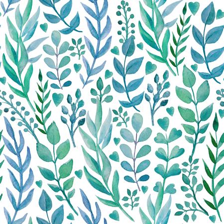 手でシームレスなパターンには、ハーブが描かれています。白の背景に青の色合い。水彩アート 写真素材