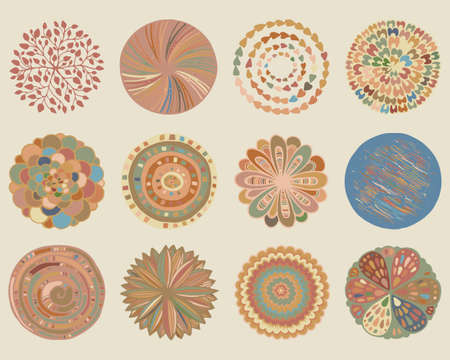 biege: Vector set of beautiful deco mandalas. Circle abstract objects isolated on biege background. Decorative ethnic elements Illustration