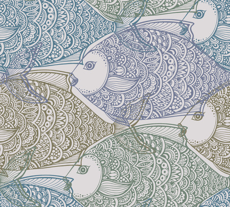 Vector seamless pattern with hand drawn graphic fish. Colorful pastel beautiful endless background.